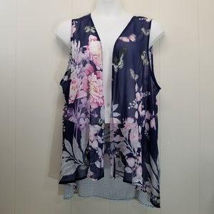CJ Banks 1X Open Flowy Vest Floral Butterflies